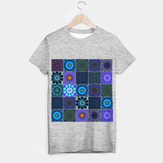 Thumbnail image of Blue Crazy Quilt Pattern T-shirt regular, Live Heroes