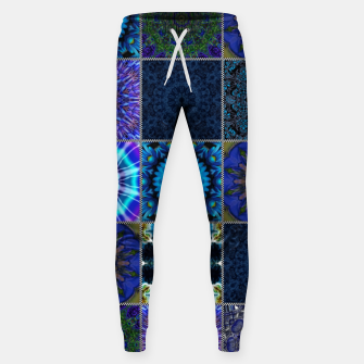 Thumbnail image of Blue Crazy Quilt Pattern Sweatpants, Live Heroes