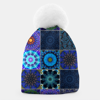 Thumbnail image of Blue Crazy Quilt Pattern Beanie, Live Heroes