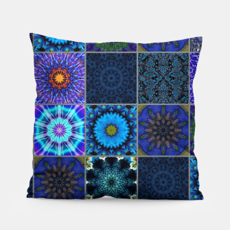 Thumbnail image of Blue Crazy Quilt Pattern Pillow, Live Heroes