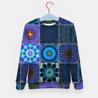 Thumbnail image of Blue Crazy Quilt Pattern Kid's sweater, Live Heroes