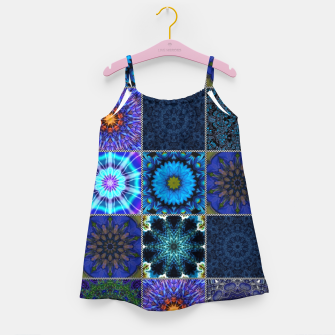 Thumbnail image of Blue Crazy Quilt Pattern Girl's dress, Live Heroes