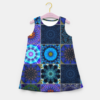 Thumbnail image of Blue Crazy Quilt Pattern Girl's summer dress, Live Heroes