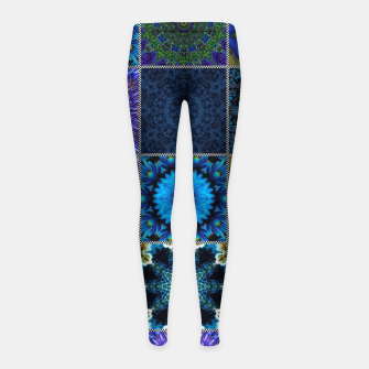 Thumbnail image of Blue Crazy Quilt Pattern Girl's leggings, Live Heroes