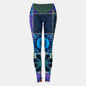 Thumbnail image of Blue Crazy Quilt Pattern Leggings, Live Heroes