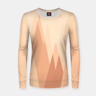 Thumbnail image of Silhouettes, sunrise over mountain peaks, contemporary landscape illustration in soft colors Women sweater, Live Heroes