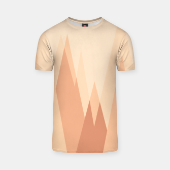 Thumbnail image of Silhouettes, sunrise over mountain peaks, contemporary landscape illustration in soft colors T-shirt, Live Heroes