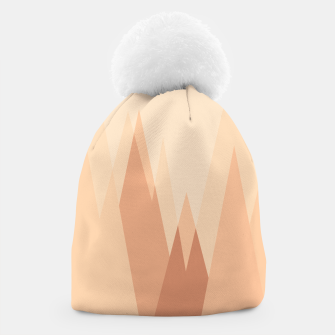 Miniatur Silhouettes, sunrise over mountain peaks, contemporary landscape illustration in soft colors Beanie, Live Heroes