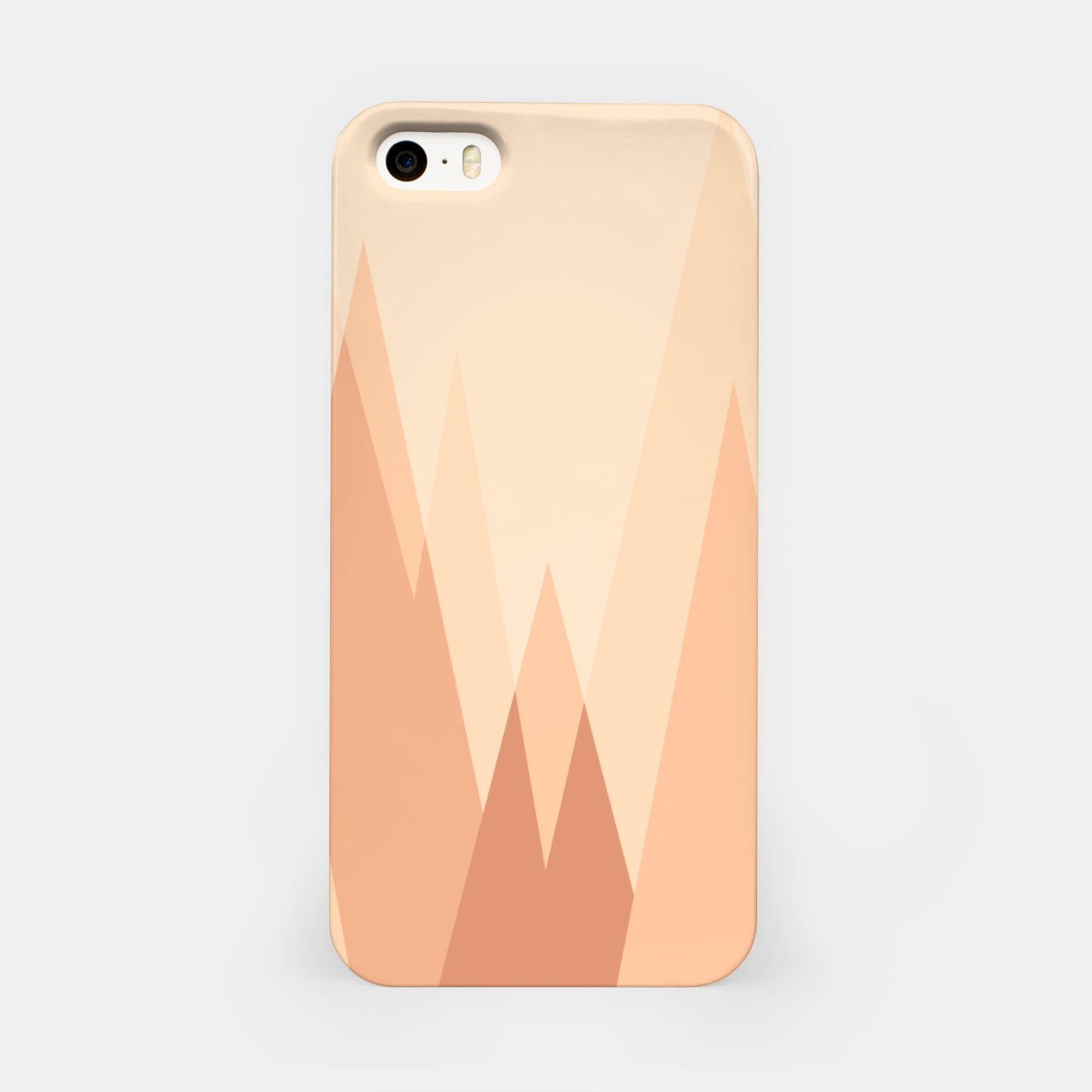 Image of Silhouettes, sunrise over mountain peaks, contemporary landscape illustration in soft colors iPhone Case - Live Heroes