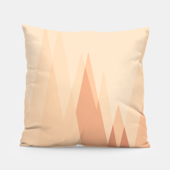 Thumbnail image of Silhouettes, sunrise over mountain peaks, contemporary landscape illustration in soft colors Pillow, Live Heroes