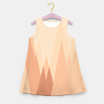 Thumbnail image of Silhouettes, sunrise over mountain peaks, contemporary landscape illustration in soft colors Girl's summer dress, Live Heroes