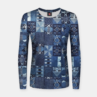 Miniatur Blue Indigo African Moroccan Traditional Style Design. Women sweater, Live Heroes