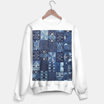 Miniatur Blue Indigo African Moroccan Traditional Style Design. Sweater regular, Live Heroes