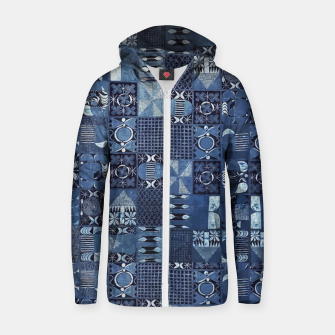 Thumbnail image of Blue Indigo African Moroccan Traditional Style Design. Zip up hoodie, Live Heroes