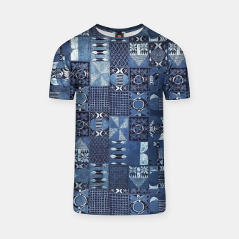 Thumbnail image of Blue Indigo African Moroccan Traditional Style Design. T-shirt, Live Heroes
