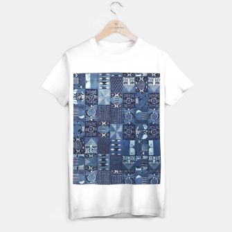 Thumbnail image of Blue Indigo African Moroccan Traditional Style Design. T-shirt regular, Live Heroes