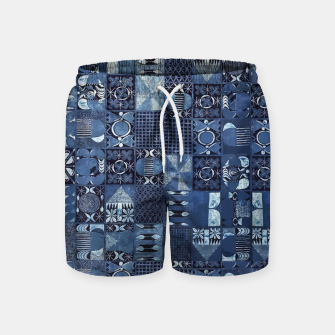 Thumbnail image of Blue Indigo African Moroccan Traditional Style Design. Swim Shorts, Live Heroes