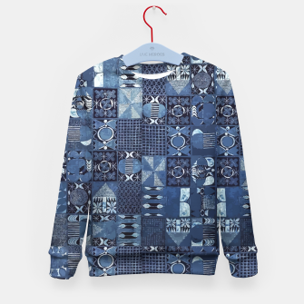 Miniatur Blue Indigo African Moroccan Traditional Style Design. Kid's sweater, Live Heroes
