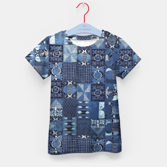 Thumbnail image of Blue Indigo African Moroccan Traditional Style Design. Kid's t-shirt, Live Heroes