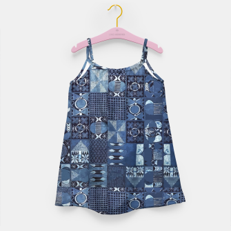 Miniatur Blue Indigo African Moroccan Traditional Style Design. Girl's dress, Live Heroes