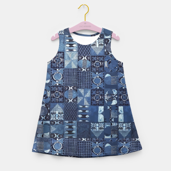 Miniatur Blue Indigo African Moroccan Traditional Style Design. Girl's summer dress, Live Heroes