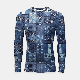 Thumbnail image of Blue Indigo African Moroccan Traditional Style Design. Longsleeve rashguard , Live Heroes