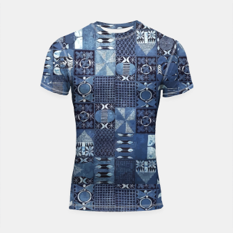 Thumbnail image of Blue Indigo African Moroccan Traditional Style Design. Shortsleeve rashguard, Live Heroes