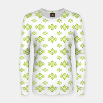 Bright Leaves Motif Print Pattern Design Women sweater obraz miniatury