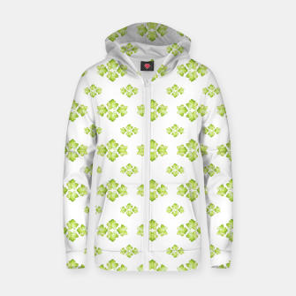 Bright Leaves Motif Print Pattern Design Zip up hoodie obraz miniatury