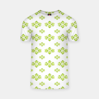 Bright Leaves Motif Print Pattern Design T-shirt obraz miniatury