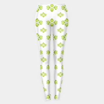 Bright Leaves Motif Print Pattern Design Leggings obraz miniatury
