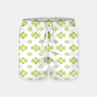 Bright Leaves Motif Print Pattern Design Swim Shorts obraz miniatury