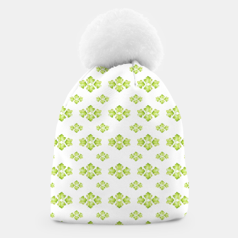 Bright Leaves Motif Print Pattern Design Beanie obraz miniatury
