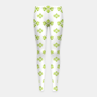 Bright Leaves Motif Print Pattern Design Girl's leggings obraz miniatury