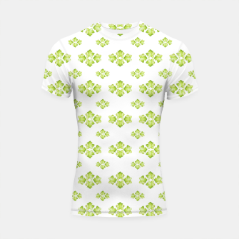 Bright Leaves Motif Print Pattern Design Shortsleeve rashguard obraz miniatury