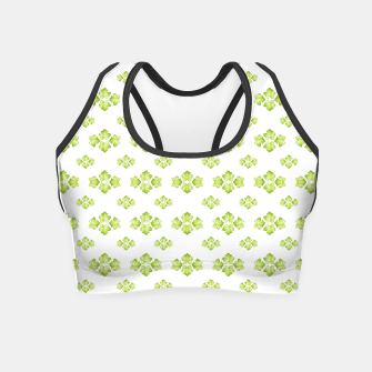 Bright Leaves Motif Print Pattern Design Crop Top obraz miniatury