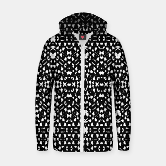 Thumbnail image of Black and White Ethnic Print Zip up hoodie, Live Heroes