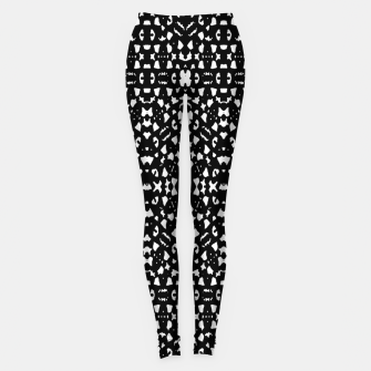 Black and White Ethnic Print Leggings obraz miniatury