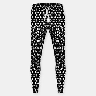 Black and White Ethnic Print Sweatpants obraz miniatury
