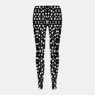 Black and White Ethnic Print Girl's leggings obraz miniatury