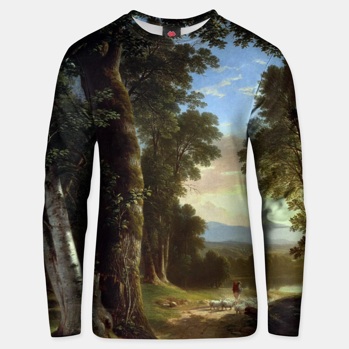 Image of The Beeches by Brown Durand Classical Art Landscape Unisex sweater - Live Heroes