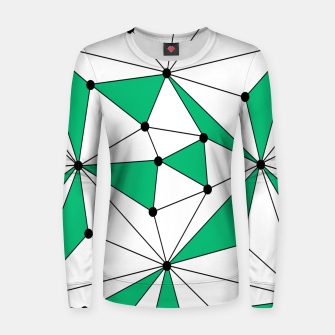Abstract geometric pattern - green and white. Women sweater thumbnail image
