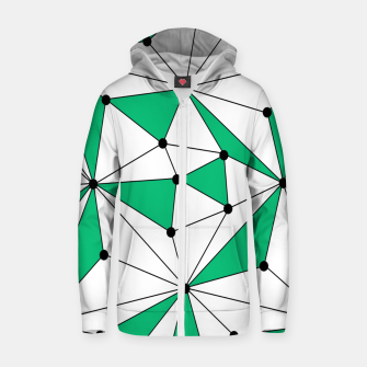 Abstract geometric pattern - green and white. Zip up hoodie thumbnail image