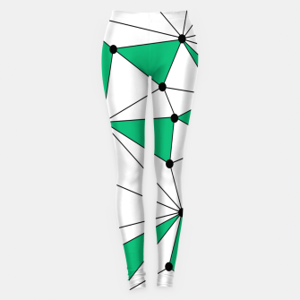Abstract geometric pattern - green and white. Leggings thumbnail image