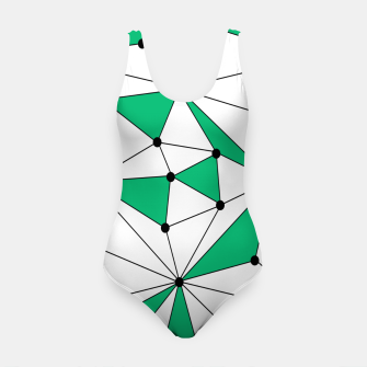 Abstract geometric pattern - green and white. Swimsuit thumbnail image