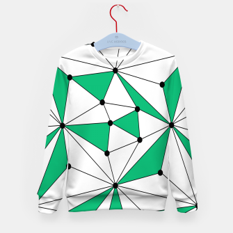 Abstract geometric pattern - green and white. Kid's sweater thumbnail image