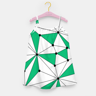 Abstract geometric pattern - green and white. Girl's dress thumbnail image