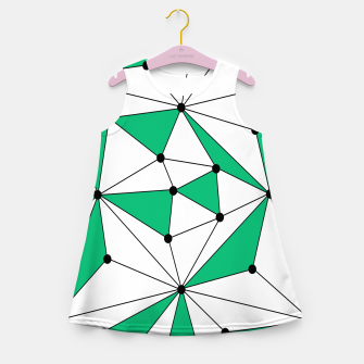 Abstract geometric pattern - green and white. Girl's summer dress thumbnail image
