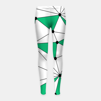 Abstract geometric pattern - green and white. Girl's leggings thumbnail image