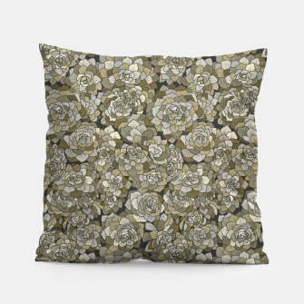 Miniatur Succulents garden in green grey Pillow, Live Heroes